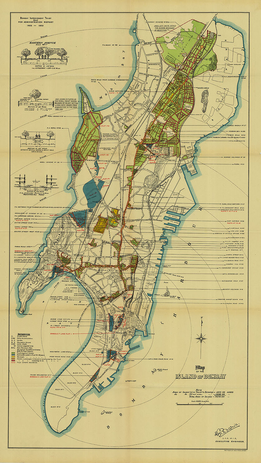 Old maps online an insight into maps of the world through history the island of bombay circa 1932 33 gumiabroncs Image collections